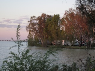 Looking back to the caravan park, evening light