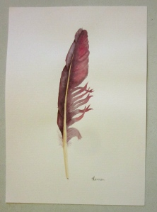 Violet feather -- Carbazole Violet and Permanent Rose. (Photo and art work copyright Anne Lawson 2013)