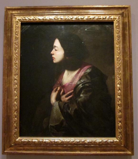 Bernardo Cavallino: 'The Virgin Annunciate' (Italian, painted about 1645 - 50)