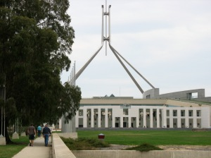 Parliament House. Which party will be in government there after September 7th? (Photo copyright: Anne Lawson 2009)