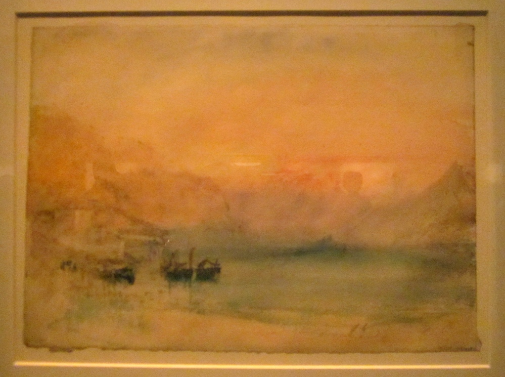 A Swiss lake; also known as Lake Lucerne: the Bay of Uri from Brunnen  1843?