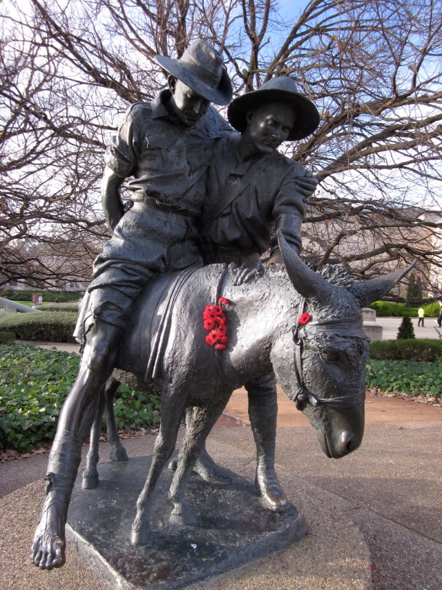 Simpson and his donkey, War Memorial, Canberra (Photo copyright: Anne Lawson 2013)