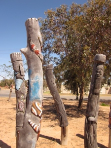 Carved poles (Photo copyright: Anne Lawson, 2013)