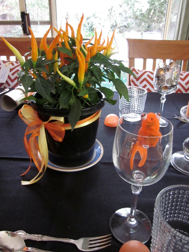 The centre piece was chillies that looked like yellow/orange flames. (Photo copyright: Anne Lawson 2013)