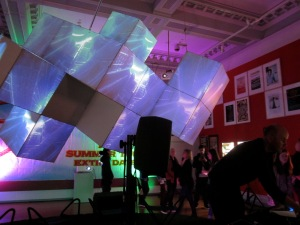 More great music being performed in the gallery. There was a light show too. (Photo copyright: Anne Lawson, 2014)