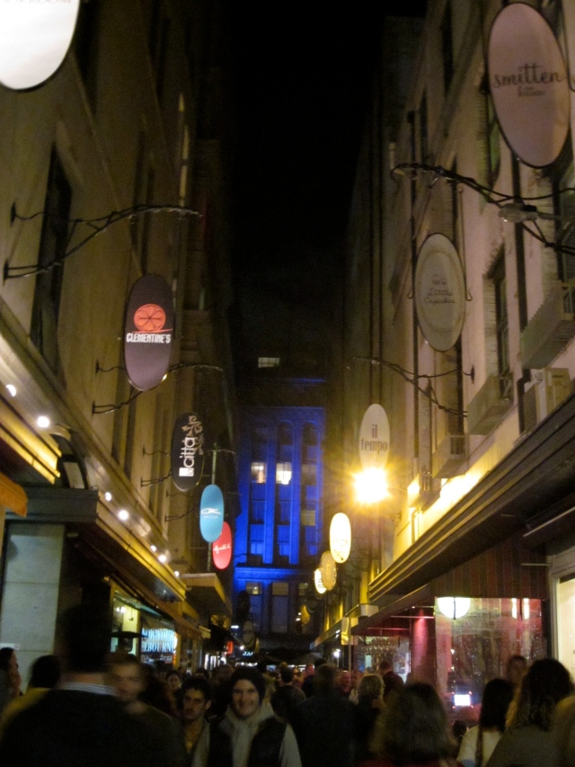 Looking north up Degraves St, away from the station. (Photo copyright: Anne Lawson, 2014)