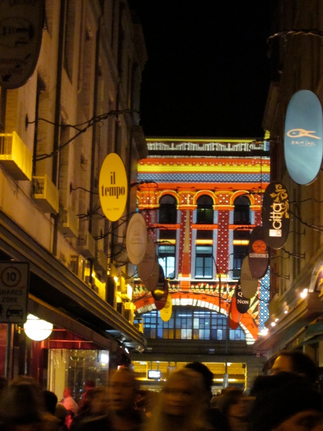 Looking down Degraves St, to the facade of the station. (Photo copyright: Anne Lawson, 2014)