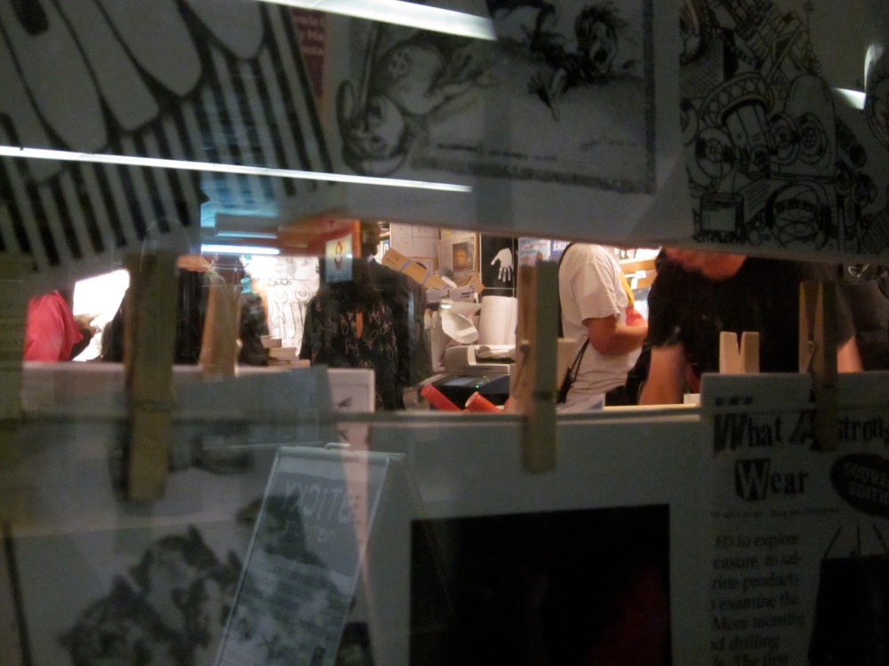 A peek through the window into the zine world beyond. (Photo copyright: Anne Lawson, 2014)