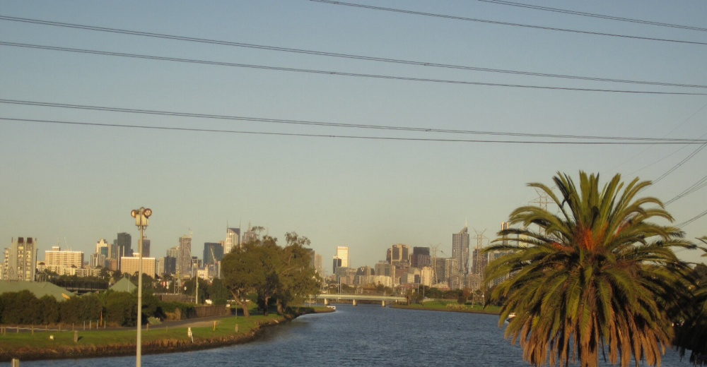 Looking from the balcony down the river to Melbourne