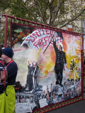 The banner of the Firefighters Union
