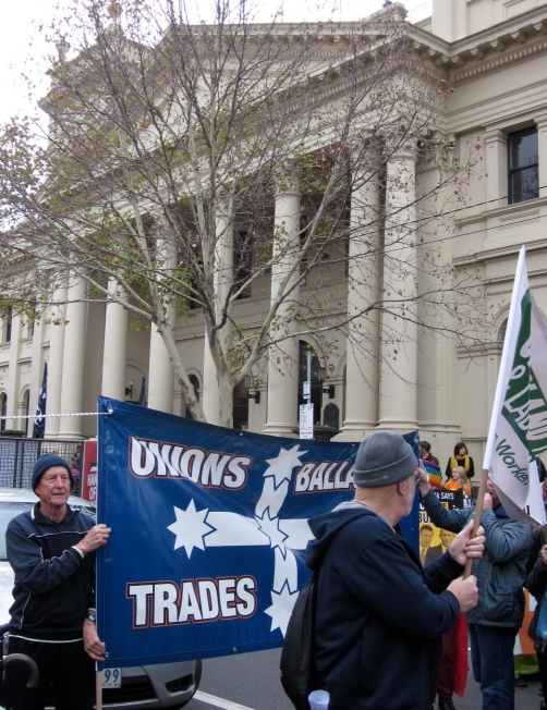 The banner from the Ballarat Trades Hall, whose members had travelled for a couple of hours to get to the rally.