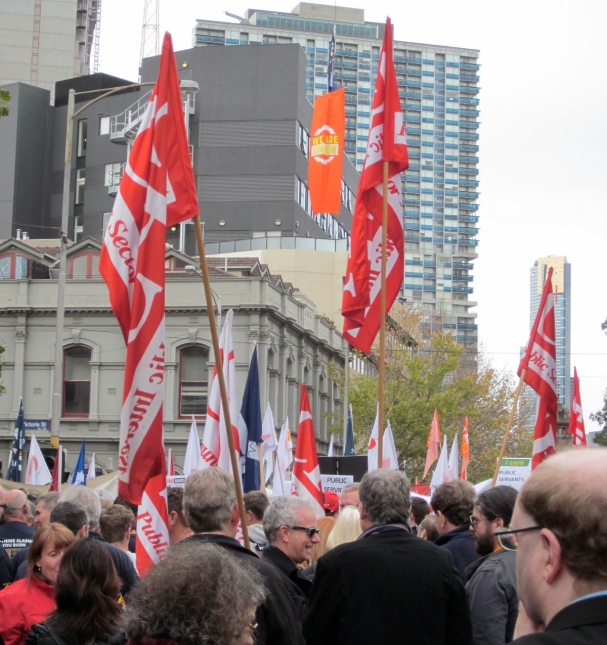 Rallying at Trades Hall