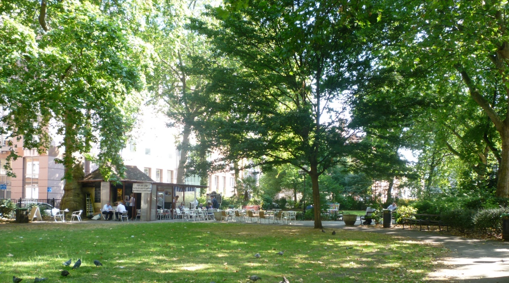 Red Lion Square, with its cafe, trees and pigeons