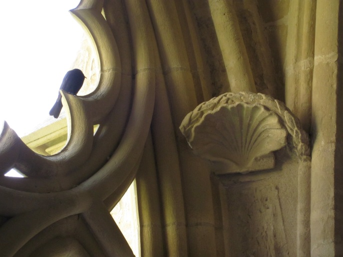 The scallop shell motif is a symbol of St James. This one is in a French church on the