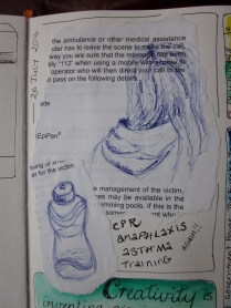 Sketches drawn on notes from a first aid training. I then glued them into the sketchbook. (Photo copyright: Anne Lawson 2014)
