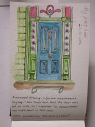 I had to crouch in the front garden to get the best angle for my front door. (Photo copyright: Anne Lawson 2014)