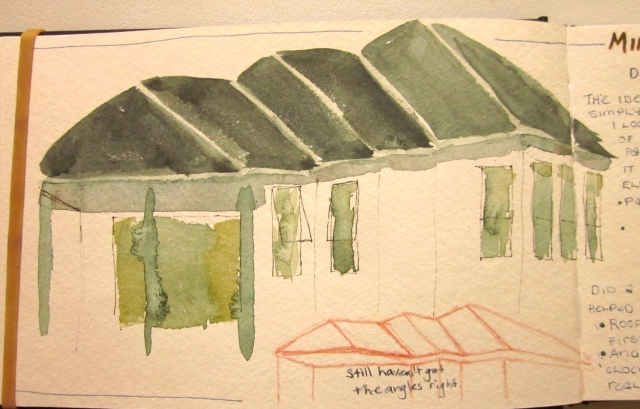 Rooftops, this time only using paint (except for a little pen help with the windows). (Photo and image copyright: Anne Lawson, 2014)