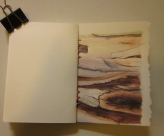The back cover is from a bark painting I did on heavy duty, 600 gsm watercolour paper.(Photo copyright: Anne Lawson, 2015)