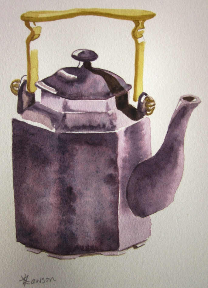 Aubergine and gold tea pot (Art work and photo copyright: Anne Lawson 2015)