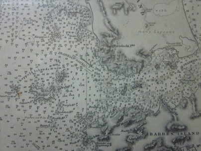 Close up of the map, showing the depth of the seas between Flinders Island and Cape Barren Island