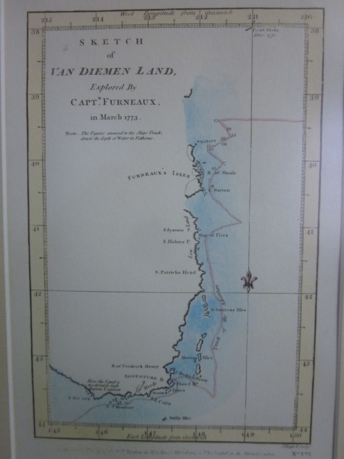 Map of the coast of eastern Tasmania, drawn by Capt. Tobias Furneaux. The map is in the museum at Emita.