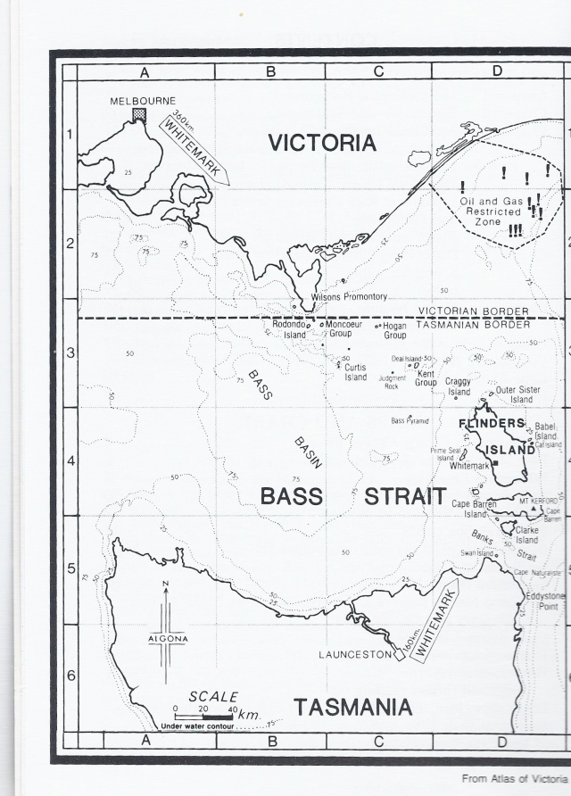This map of Bass Strait is from Atlas of Victoria, 1982 and I scanned it from Jean Edgecombe's book