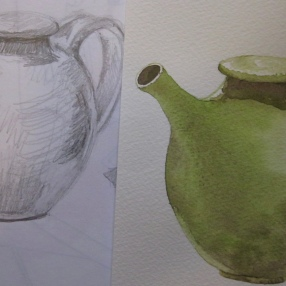 Moss green teapot with original drawing (image and photo copyright: Anne Lawson 2016)