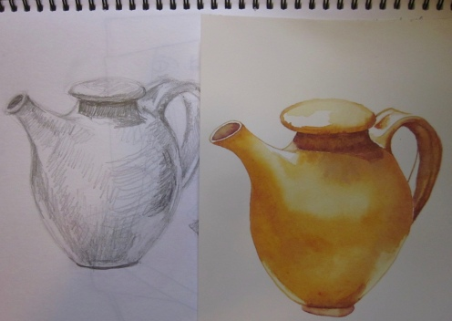 Golden teapot with original drawing (Image and photo copyright: Anne Lawson 2016)