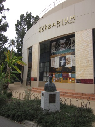 The statue of Mueller in front of the Herbarium (Photo copyright: Anne Lawson, 2016)